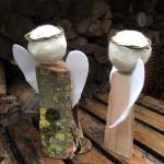 houten met vilten engelen of kerstgroep